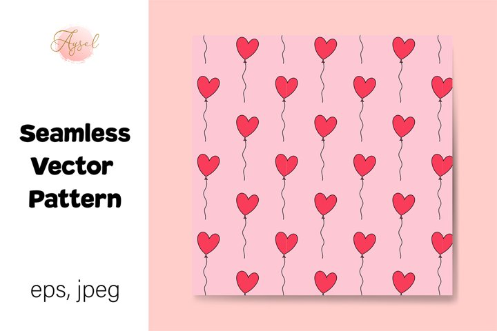 Valentines Day Heart Shape Balloons Seamless Patterns
