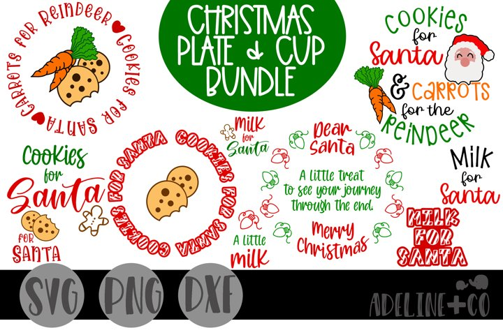 Christmas plate and cup bundle, cookies and milk, SVG, PNG