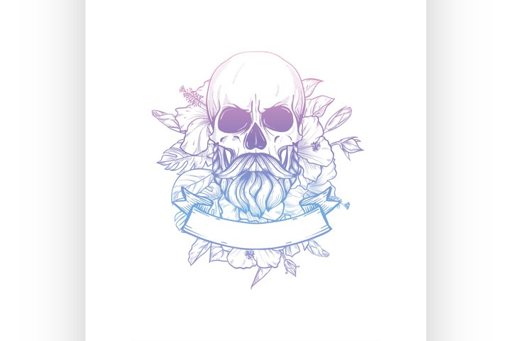 Skull with moustaches and beard