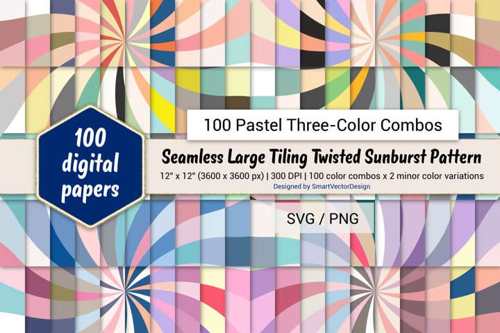 Large Tiling Twisted Sunburst-100 Pastel Three-Color Combos