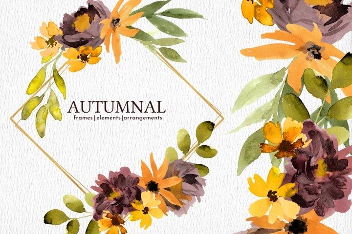Autumn Watercolor Florals PNG Clipart Set