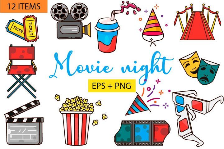 Movie Night Clipart Flat Vector PNG EPS Film Cinema Clipart