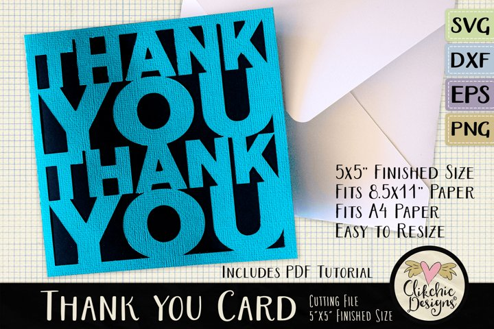 Thank You Card SVG - Thanks Card Cutting File, DXF, PNG, EPS
