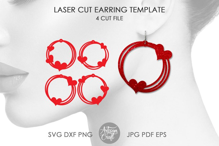 Heart Earring SVG, Laser cut files, Messy circle