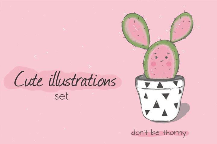 cute illustrations set