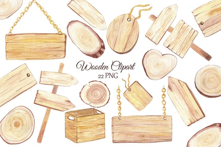Watercolor wood slice clipart, Wooden rustic elements