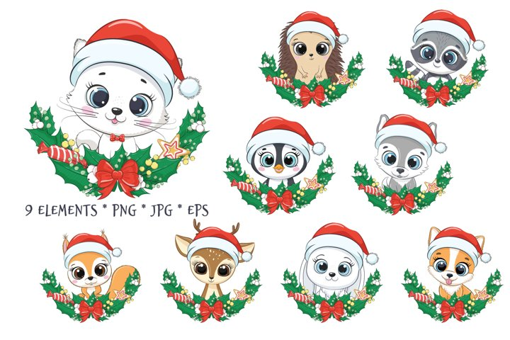 Christmas Wreath with Baby Animal Clipart, PNG, EPS, JPEG