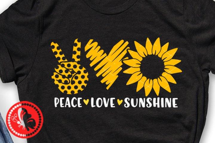 Peace Love sunshine svg Heart Sunflower png Yellow flower