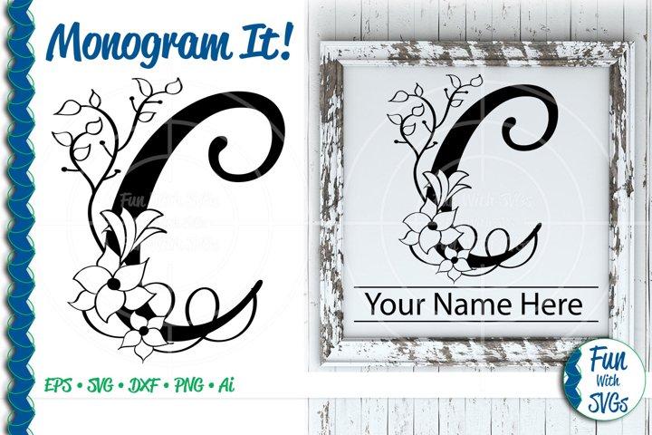 SVG Monogram Letter C, Vector, Cut File, Clip Art, FWS352