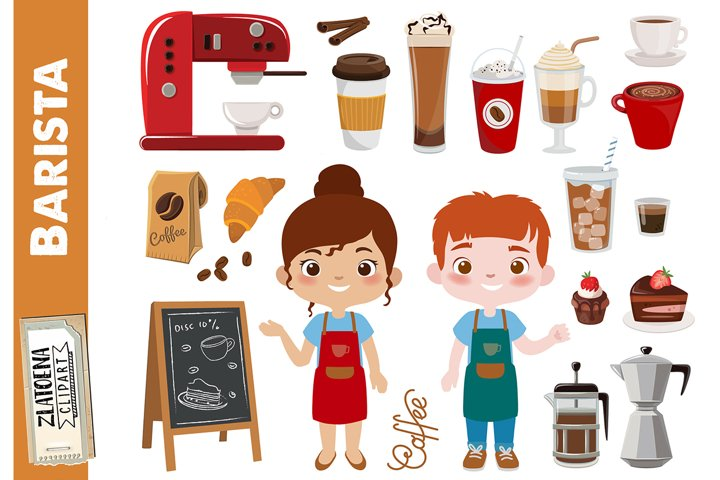 Coffee clipart Coffee shop clipart Barista clipart Cafe