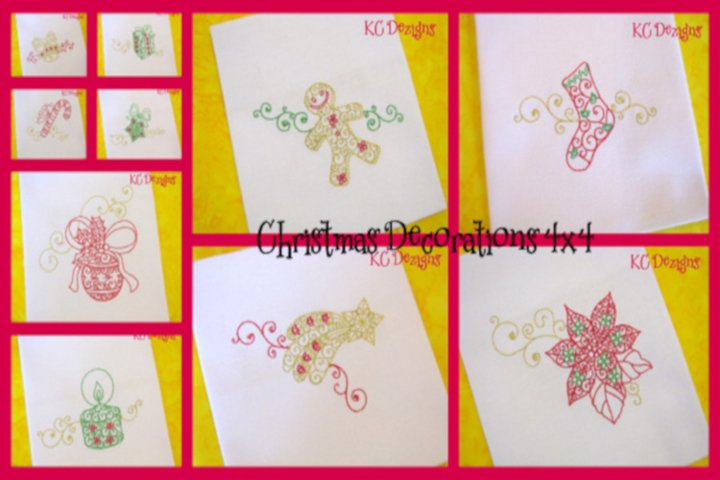 Christmas Decorations Set 4x4 Machine Embroidery Designs