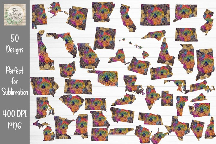 All 50 States, Mandala States, Mandala Design, State Bundle