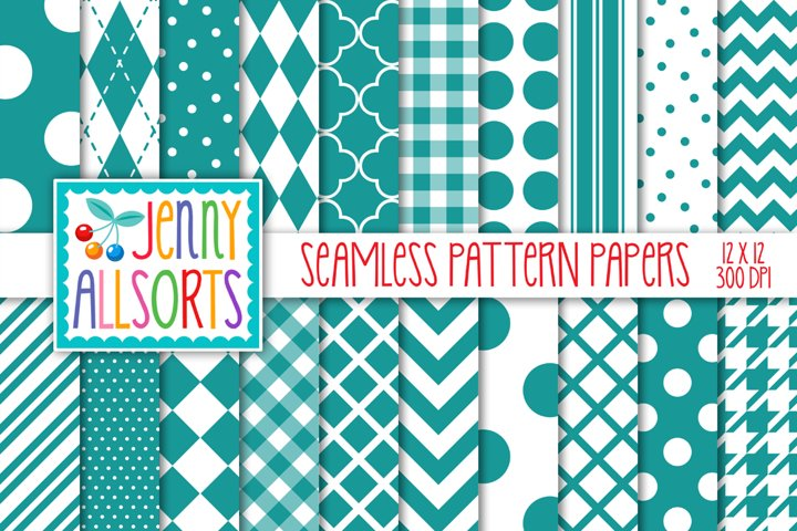 Teal & White Seamless Digital Repeat Geometric Patterns