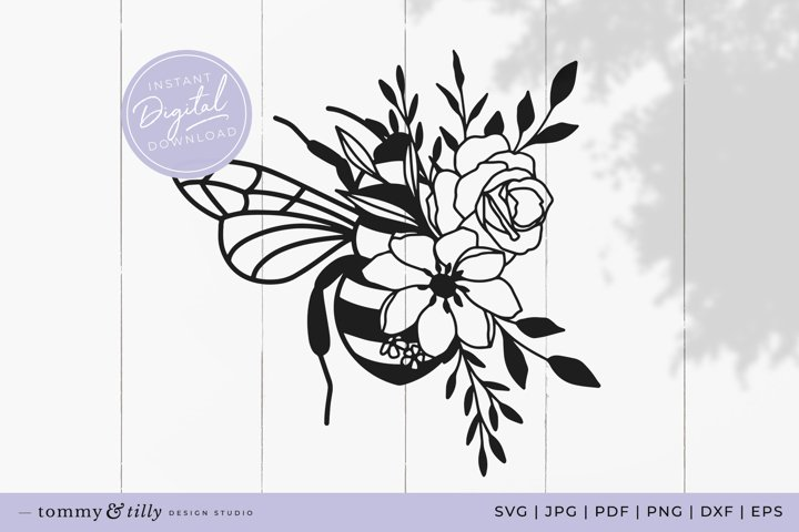 Wildflower Bee SVG Cut File for Cricut and Silhouette