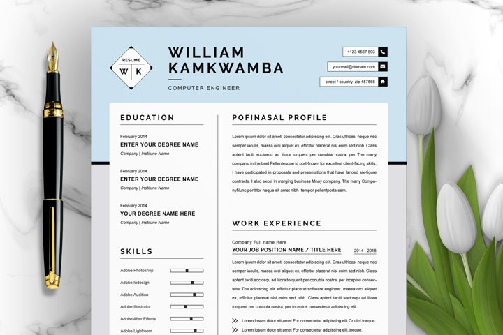 Modern Resume Template for Word, Apple Pages