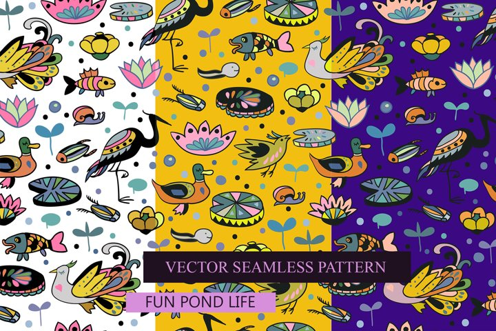Pond life. Seamless pattern wih cute animals and plants.