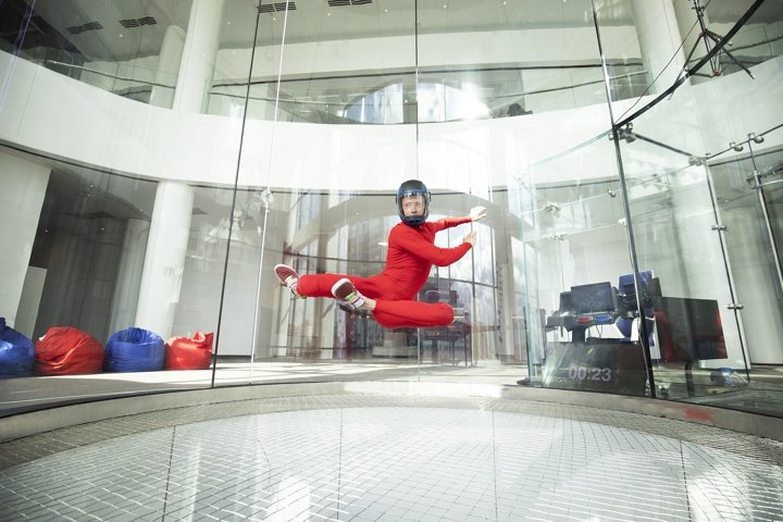 levitation athletes skydivers in a wind tunnel
