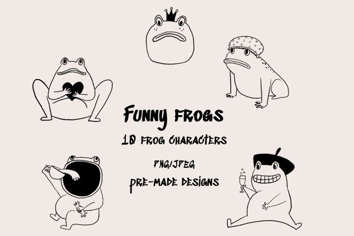 Funny frogs characters - digital clip art set
