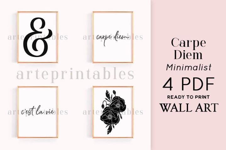 Carpe Diem Floral Black and White Wall Art