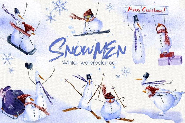 SNOWMEN Watercolor winter set