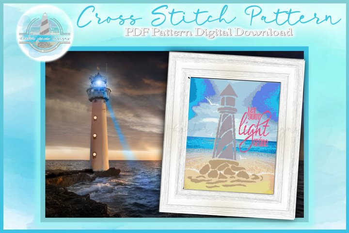 Counted Cross Stitch PDF Pattern | Lighthouse Quote Xstitch