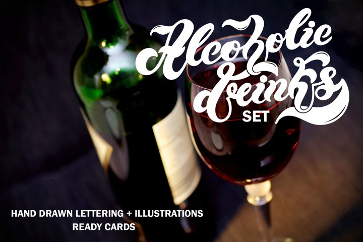Alcoholic Drinks Set. Lettering