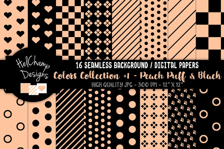 16 seamless Digital Papers - Peach Puff and Black - HC099