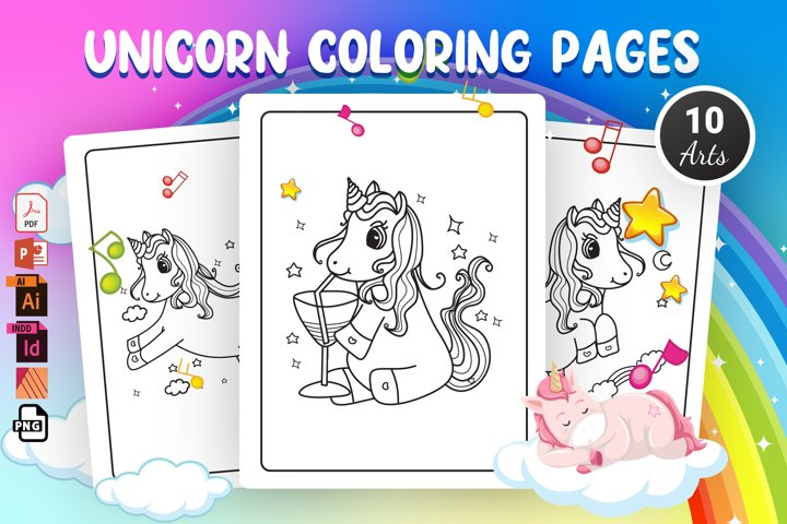 Unicorn Coloring Pages - KDP Interior
