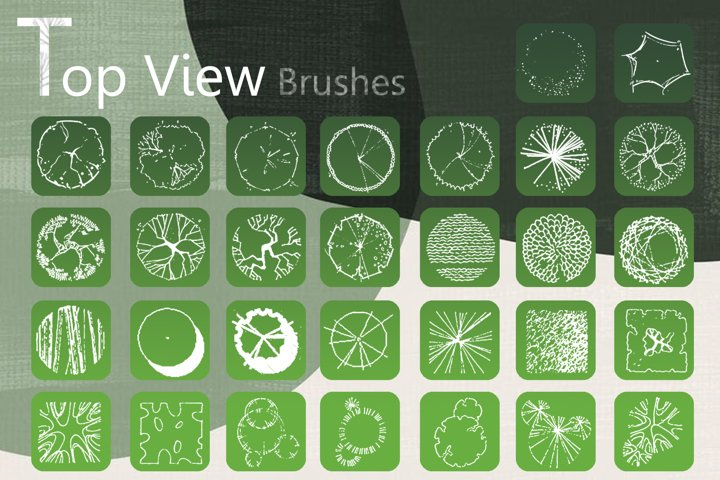 Trees top view brushes for landscape design