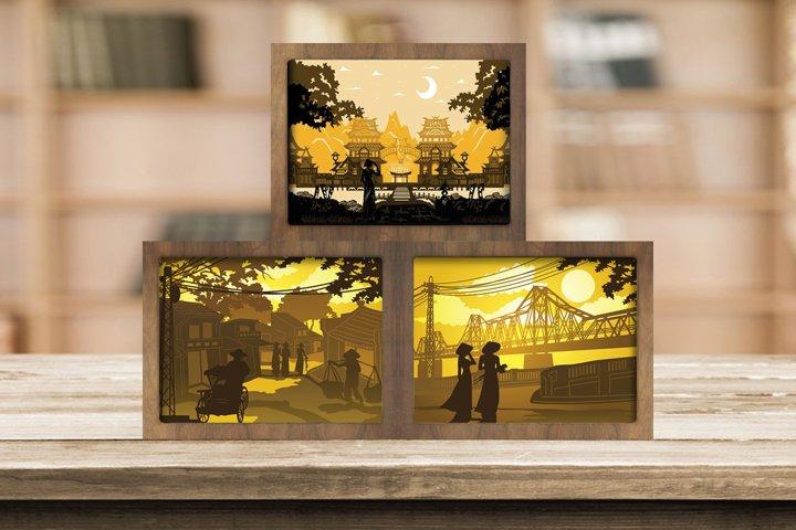 Combo 3 Templates Vietnam Landscape 3D Paper Cut Light Box