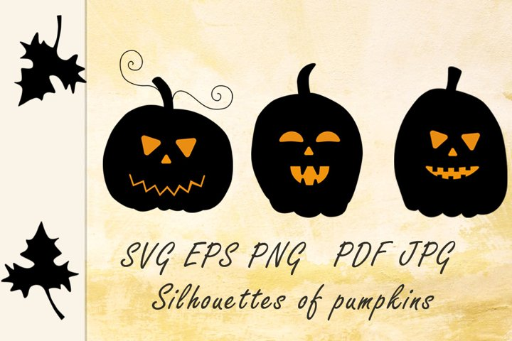 Pumpkin collection. Pumpkin silhouette. Halloween svg