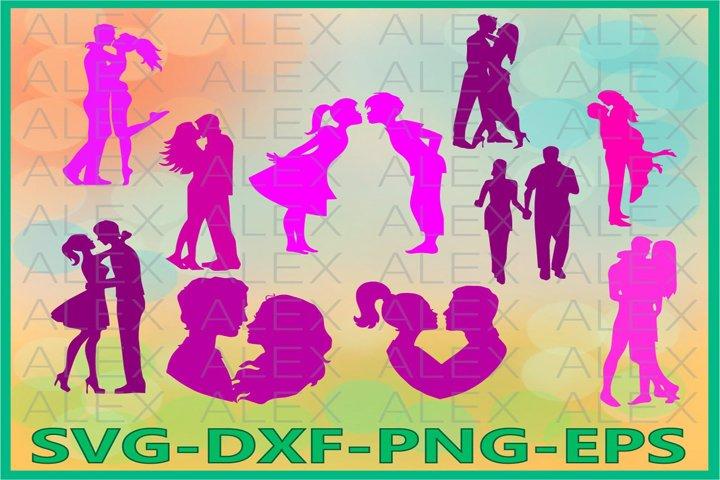 Couples SVG, Couple Silhouette, Couple Files svg