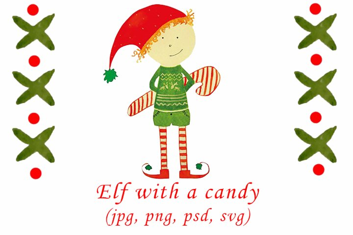 Watercolor Christmas elf with a candy