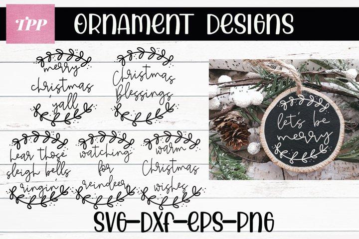 Christmas Ornament SVG Bundle, Wood Slice svgs, holiday cut