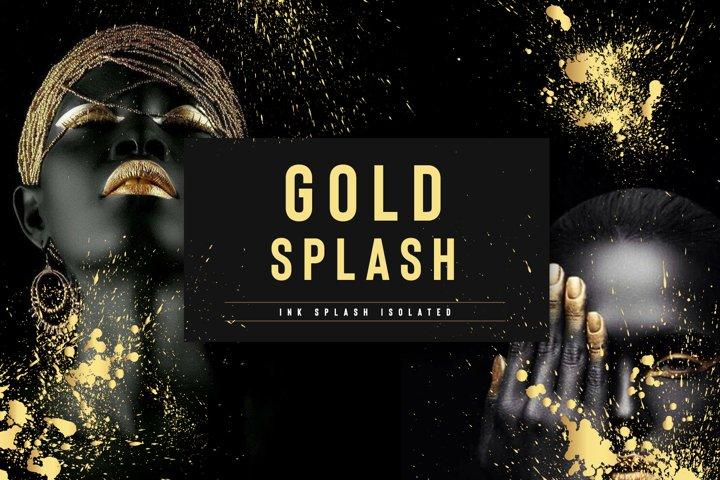 Set of gold splash on black background vector illustration