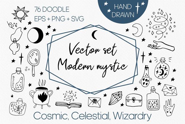 Modern vector mystic set doodle clipart. Celestial clipart