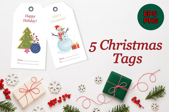 5 Christmas tags, Christmas cards, Merry Xmas Happy Holiday
