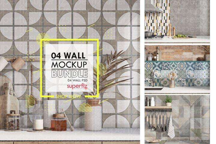 Bundle Mockup Wall Kitchen SM153 - 4 PSD