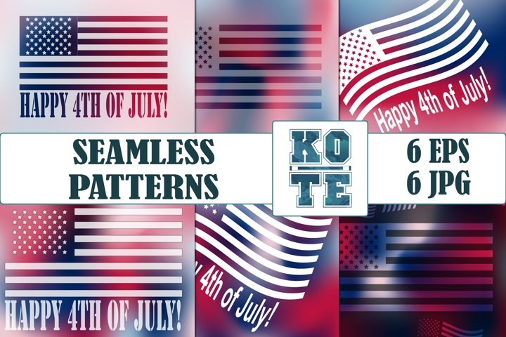 6 Seamless 4th of July Gradient Pattern