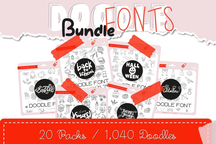 Doodle Fonts Bundle - Over 1,000 Cute Hand-Drawn Doodles