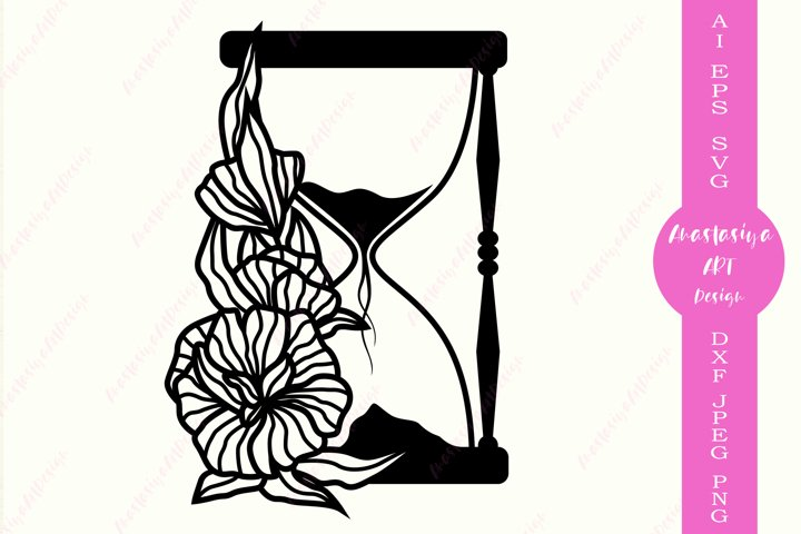 Floral hourglass svg, Hourglass clipart, Timer dxf, Clock