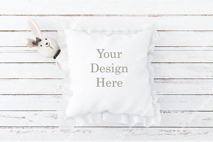 Childrens Blank White Square Mockup Pillow