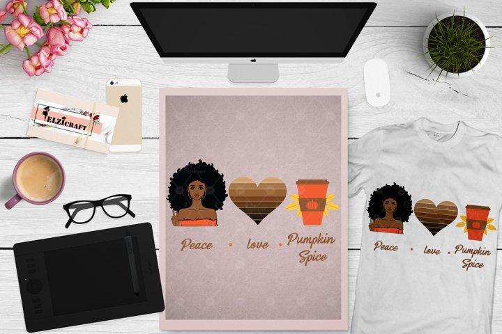 Afro Woman, Peace, Love, Pumpkin Spice, Fall SVG Cut File