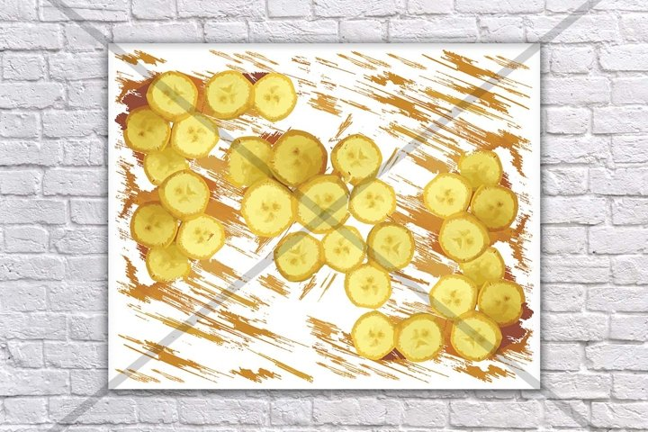 Fruit print, Banana print, Paper prints, Food print,Fruit and vegetable prints, Wall mural, Kitchen prints and posters, Modern Minimal, Art
