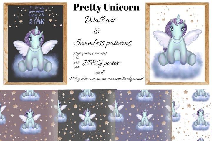 Cute Unicorn on cloud.Printable WALL ART.Nursery room decor.