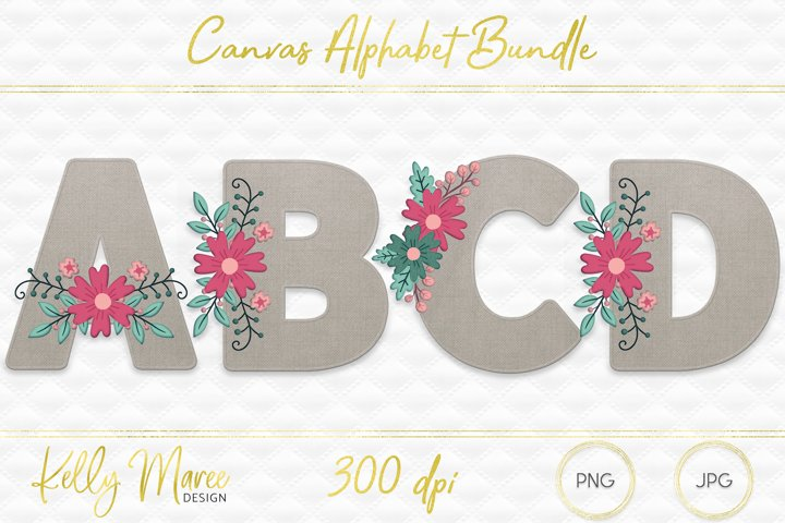 Canvas & Floral Alphabet Graphic Bundle