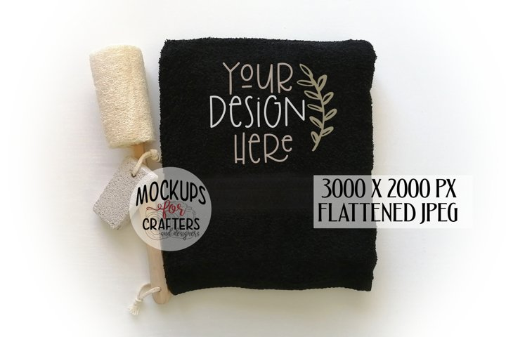 Bath Towel, Black Towel, MOCK-UP