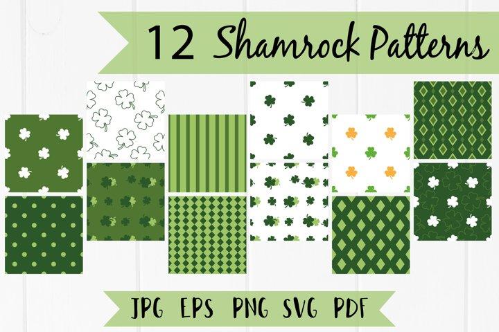 12 Shamrock clovers patterns bundle St. Patricks Day