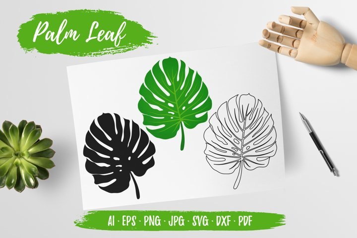 Palm Monstera Leaf Clipart Vector, Sublimation, Cut SVG DXF