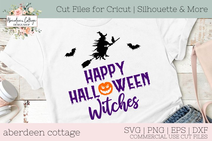 Happy Halloween Witches with Bats SVG - Halloween Quote